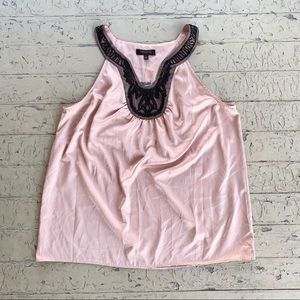 NWT the limited peach silky top with black beads